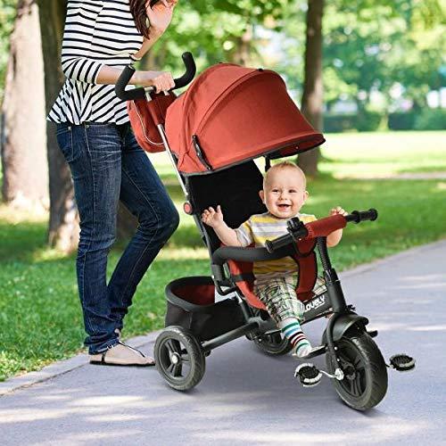 HOMCOM 3 in 1 Dreirad für Kinder ab 18 Monaten Dreirad mit Pedalen mit abnehmbarem Verdeck faltbar Teleskopstange für Eltern Dreirad Schieber 96 x 53,5 x 101 cm
