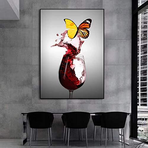 Lienzo Mural Arte Abstracto Mariposa en Copa de Vino TintoPintura en Lienzo Imágenes artísticas de Pared para la Sala de Estar Decoración del hogar (Sin Marco) Póster de Pared