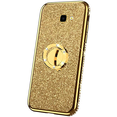 Compatibel met Samsung Galaxy A7 2017 hoes silicone glitter glanzend strass diamant hoes TPU silicone beschermhoes 360 graden ring standaard doorzichtig telefoonhoes etui case voor Galaxy A7 2017, zilver Samsung Galaxy A7 2017 goud