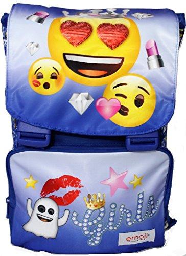Emoji Zaino Estensibile Scuola Emotion - con Pattina Reversibile - Blu