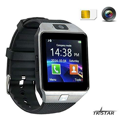 TKSTAR Smart Watch,Smart Uhr, Bluetooth Smartwatch, Armband-Telefon Uhr mit Schrittzähler, Touchscreen für Smartphones mit Android System DZ09 Silber
