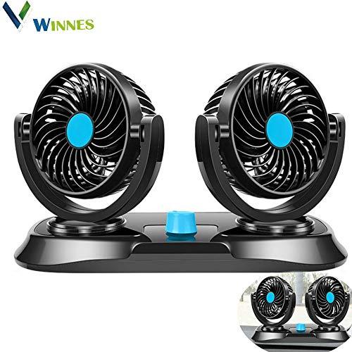 Winnes Auto-ventilator, draagbare elektrische autoventilator met 2-traps instelbare DC 12 V dubbele kop, auto-accessoire, luchtverfrisser