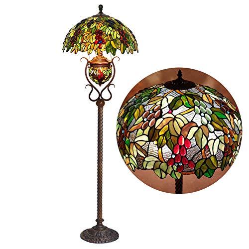 Tiffany Stijl Vloerlamp, 2 Lampen Vintage Glas Staande Licht met Nachtlamp, Antieke Metalen Base Vloerlampen voor Woonkamer Slaapkamer, 65 inch Tall