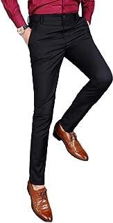 [タラゴナレク]メンズ スラックス 無地 ノータック 美脚 (グレー・ブラック)71cm~91cm
