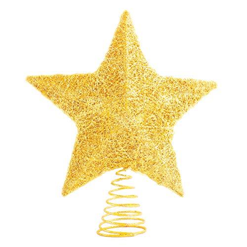 LAWOHO Puntale per Albero di Natale Stella Ornamenti Glittering Gold Festival Gift Display Illuminato Chiaro Decor 25,4cm
