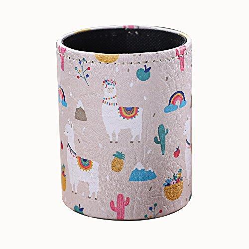 LINKWELL Summer Cute Llama Cactus Design PU Leather Pencil Pen Holder Desk Organizer PH38