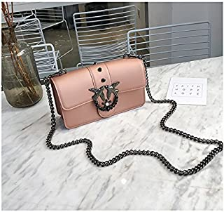 Leather New Women's Shoulder Wallet Chain Crossbody Shoulder Mini Fashion Swallow Pattern Wallet Waterproof (Color : Gold, Size : S)