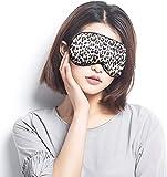 Máscara de seda para dormir y venda, máscara de ojos súper suave para dormir, con correa ajustable, adecuada para viajes, siestas, sueño nocturno (leopardo)