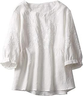 Women's Embroidery Cotton Linen Tops Lantern Sleeve Shirt Pullover Blouse