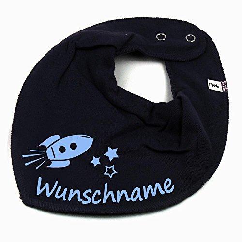 Elefantasie HALSTUCH Rakete mit Namen oder Text personalisiert dunkelblau für Baby oder Kind