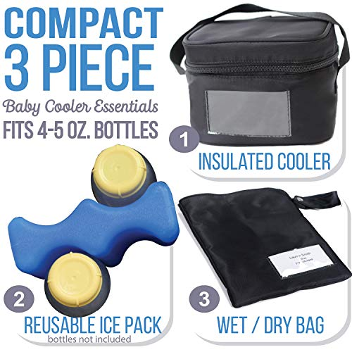 Zohzo Breastmilk Compact Cooler Bag with Ice Pack - Insulated Breast Milk Cooler with Accompanying Wet/Dry Bag (Black)