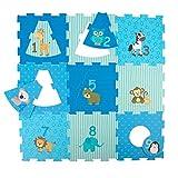 Bieco Puzzlematte 18 TLG. | Spielmatte Baby | XXL Puzzle Kinder | Krabbeldecke Baby Spielmatte Kinder| Turnmatte Kinder | Kinder Teppiche | Krabbelmatte Baby | Buchstaben Lernen | Spielteppich Junge