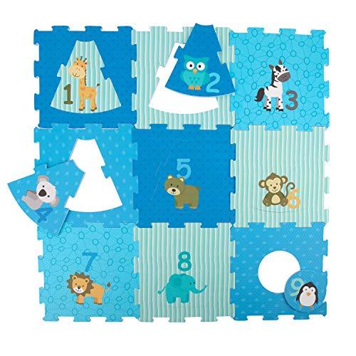 Bieco Puzzlematte 18 TLG.   Spielmatte Baby   XXL Puzzle Kinder   Krabbeldecke Baby Spielmatte Kinder  Turnmatte Kinder   Kinder Teppiche   Krabbelmatte Baby   Buchstaben Lernen   Spielteppich Junge