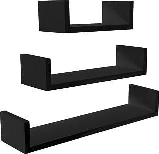 Meerveil Estantería de Pared Juego de 3 Estanterías para Pared Cubos Estante Mural Estantería Colgante en Forma de U Set de 3 Estantes Flotantes 60/45/30cm La Carga máxima 15kg Negro