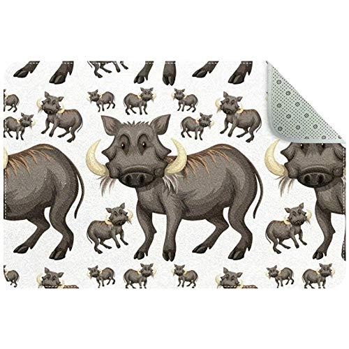 Yoliveya Alfombra suave para el suelo, diseño de Warthogs, absorbente, antideslizante, para entrada en casa, oficina, 60 x 40 cm
