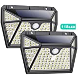 Luz Solar Exterior con Sensor de Movimiento【Iluminación Super Brillante por 5 Lados-118LED】Pxwaxpy Luces Led Solares...