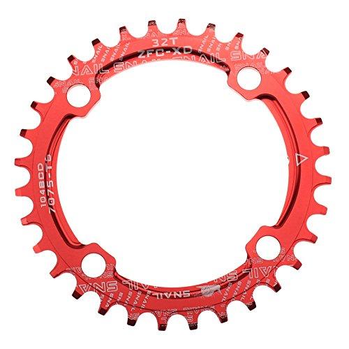 CYSKY Schmale Breite Kettenblatt 32T 34T 36T 38T 104 BCD Einzelkettenblatt mit 9 10 11 Geschwindigkeit für Rennrad Mountainbike BMX MTB (32T)