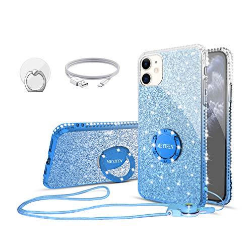 MEYIFEN Carcasa para iPhone 11 con anillo, fina y transparente con purpurina de diamantes, para Apple iPhone 11 6.1 con cordón, carcasa con soporte antigolpes y protector de parachoques, color azul