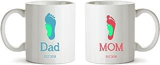 Dad & Mum & Baby Footprints Funny Ceramic Coffee Mug Set of 2 - 11 oz - Baby Shower Gift