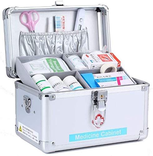 SIRENK Kit de Primeros Auxilios Caja de Emergencia bloqueable Kits de Supervivencia Bloqueo de Seguridad Medicina de Almacenamiento Caja de Transporte con asa portátil 24.5 × 16 × 15 cm