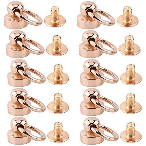 FTVOGUE 10 stuks klinknagels van messing, ronde schroeven, ringkop, voor knutselen, leer, riem, schoenen, decoratie