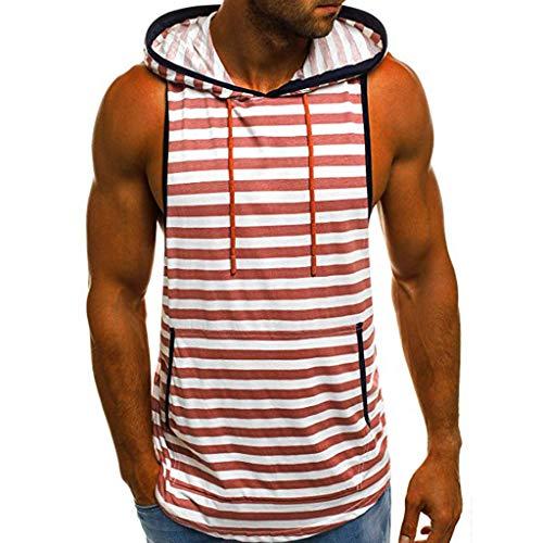 IZHH Herren Tank Top, Sommer Muskelshirt Casual Streifen Print Herren Unterhemd Mit Kapuze ÄRmelloses T-Shirt Top Weste Bluse(Rot,M)