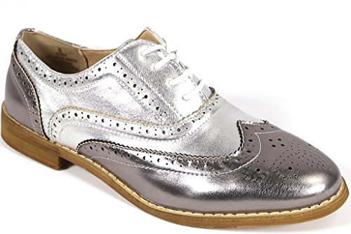 Bucco Oxee Womens Fashion Vegan Leather Oxford Shoes, Pewter Multi, Size 7.5, US