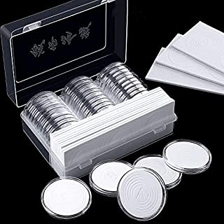 advancethy 100PCS 25MM Round Coin Case Storage Box Plastic Coin Collection Holder Acrylic Coin Display Case Organizer Container For Collectors