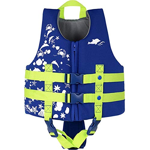 IvyH Schwimmweste, ideale Schwimmweste für Kinder 3-10 jährige Jungen und Mädchen Schwimmhilfen Auftrieb Bademode Einstellbar Schwimmen Lernen Schwimmbad Tauchen Strand Surfen Sicherheit/Blau M