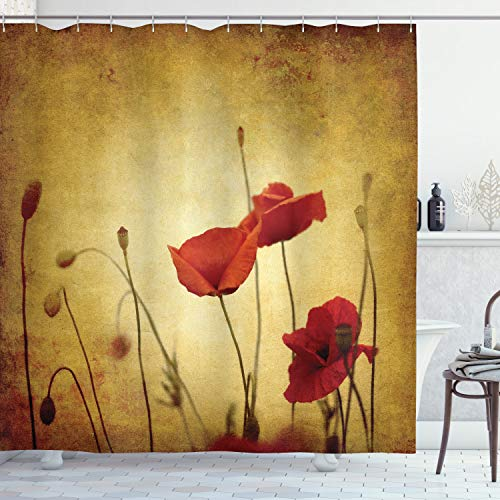 """Ambesonne Poppy Shower Curtain, Poppies and Flower Buds on Ambient Dark Grunge Background with Retro Effects Bohemian, Cloth Fabric Bathroom Decor Set with Hooks, 70"""" Long, Mustard Vermilion"""