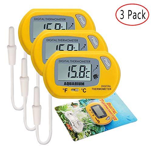 Electrely Termometro Digitale Esterno Sonda per Acquario -50/70°C per Acquario Pesce Serbatoio Vivario Terrario (3 Pack, Giallo)