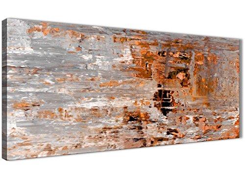 Wallfillers Verbrand Oranje Grijs Schilderij Woonkamer Canvas Muurdecoratie Accessoires - Abstract 1415-120cm Print