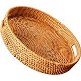 WUWEOT Rattan Serving Tray, Round Woven Wicker Basket, Decorative Rustic Table Tray with Handles for Serving Dinner, Parties, Breakfast, Coffee Tea, Drinks, Snack, 12 Inch