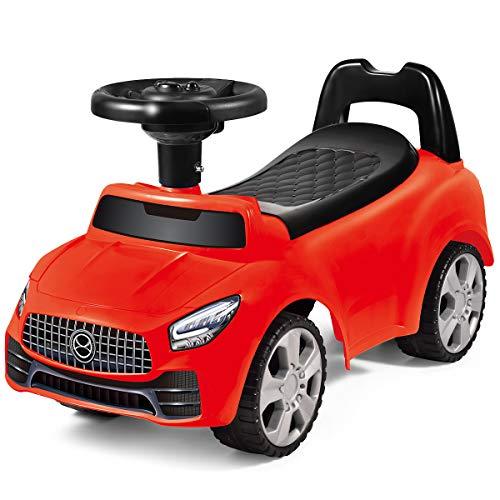 COSTWAY Rutschauto Stauraum unter dem Sitz, Kinderauto mit Hupe und Musik, Kinderrutscher, Spielzeugauto für Kleinkinder von 19-36 Monaten (Rot)
