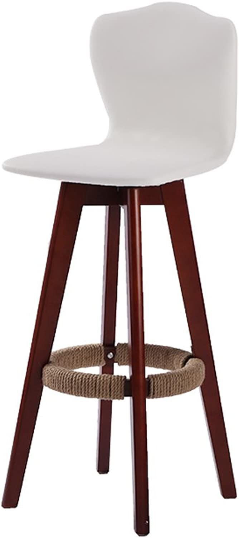 Bar Stool Wood Bar Chair Leather Backrest Kitchen Breakfast Chair Swivel, 1Pcs, 42  42  71cm (color   White)