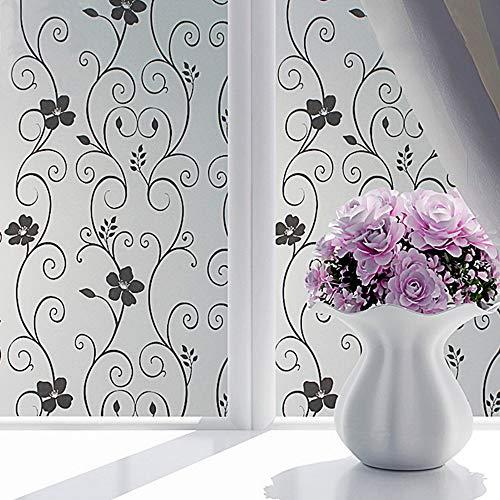 YSHUO raamsticker zwart bloem patroon privacy venster film mat glas film geen lijm statische zelfklevende film anti-uv