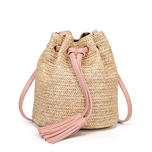 TIFIY Frauen Elegant Solid Color Hohe Kapazität Weave Quasten Schulter Mode Outdoor Eimer Tasche (Rosa)