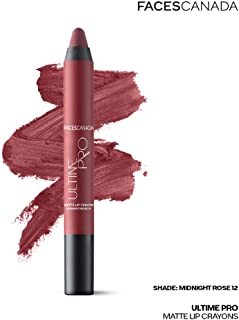 Faces Canada Ultime Pro Matte Lip Crayon Midnight Rose 12 2.8 g With Free Sharpener (Maroon)