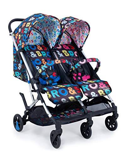 Cosatto Woosh Double Stroller – Lightweight Pushchair From Birth to 15kg, Twins or Siblings - One-hand Fold, Compact, Independent Seats (Sis & Bro)