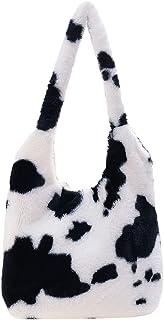 Piklodo Damen Frauen Flauschige Umhängetasche Plüsch Handtasche Blume Kuh Pantern Mädchen Flauschige Tasche Tobe für Herbs...