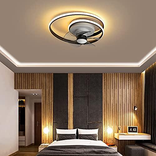 DULG Ventiladores de techo LED con luces para dormitorio Quiet Mute 45W Ventilador invisible moderno Luz de techo con control remoto y temporizador Regulable 3 velocidades Ventilador Luz de techo Vent