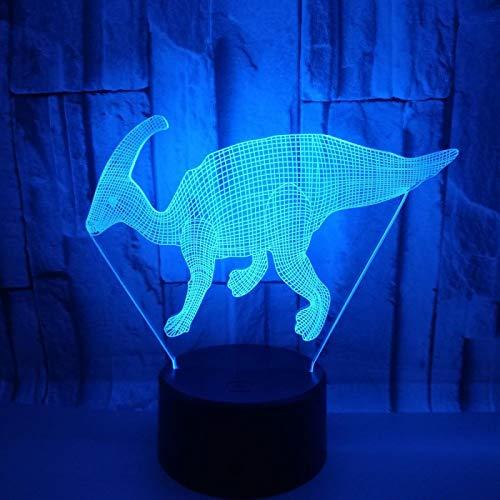 HGFHGD 3D LED USB Dinosaurio Luz de Noche Lámpara de Mesa Multicolor...