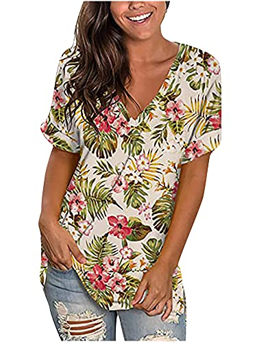 Camiseta de verano para mujer, parte superior de manga corta, estilo vintage, con cuello en V, degradado de color A-albaricoque. XL