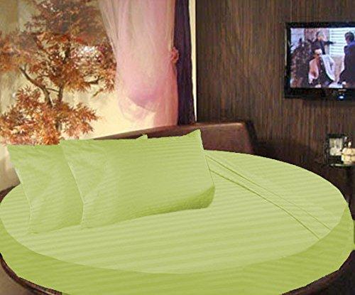 scalabedding rund Bett gestreift Spannbettlaken 100% ägyptische Baumwolle Fadendichte 300Twin 203,2cm Durchmesser Salbei
