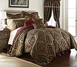 powerful Chezmoi Collection Seville, 9 pieces, Jacquard, Black Gold, Burgundy Red Medallion, Big Paisley …