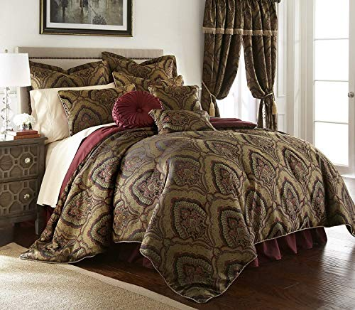 Chezmoi Collection Seville 9-Piece Jacquard Black Gold Maroon Red Medallion Paisley Oversized Comforter Set, King 110' x96