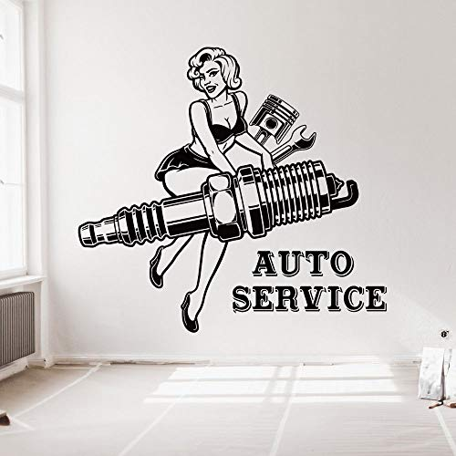 wZUN Decoración de Garaje de automóviles con calcomanías de Pared para Damas Sexy Servicio de automóviles 85X79cm