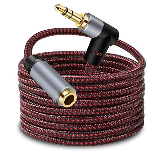 LSYTASG Alargador para Auriculares, Cable de Audio Jack 3,5mm Macho a Hembra Nylon Trenzado con Conector de 90º, Cable de Extensión para Auriculares, Altavoces, Audio de Coche, Moviles, Tablet 5M