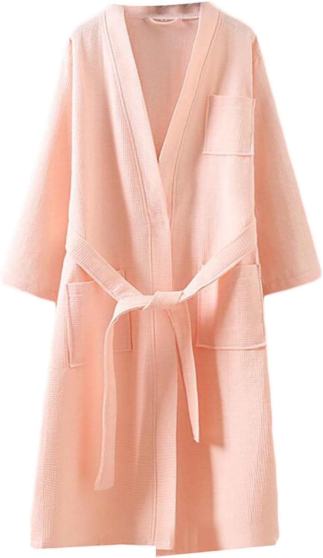 GAGA Women's Cotton Casual Loose Comfortable Plus Size LongSleeved Belt Bathrobes