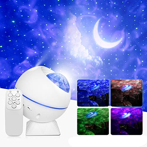 LED Sternenhimmel Projektor,Starry Projector Light,LED Baiyun Mond Light Projector mit Fernbedienung,360°Drehen,10 Beleuchtungsmodi für Baby Kinder Erwachsene Party und Weihnachten